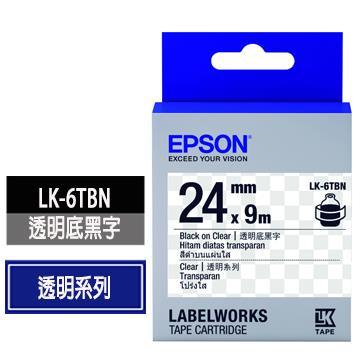 EPSON LK-6TBN透明底黑字標籤帶 C53S656406