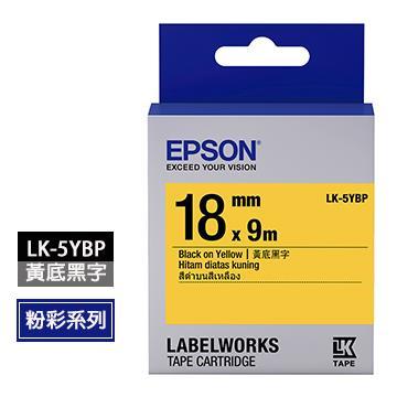 EPSON LK-5YBP黃底黑字標籤帶