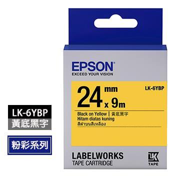 EPSON LK-6YBP黃底黑字標籤帶