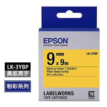 愛普生EPSON LK-3YBP黃底黑字標籤帶 C53S653404