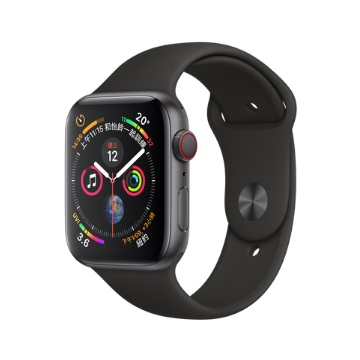 【LTE版44mm】Apple Watch S4/灰鋁/黑運動錶帶