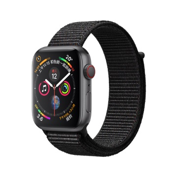 【LTE版44mm】Apple Watch S4/灰鋁/黑運動錶環