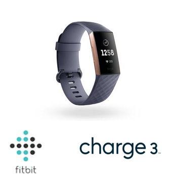 Fitbit Charge 3 智慧手環 - 玫瑰金框藍灰錶帶