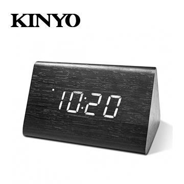 KINYO 三角形LED聲控木頭鬧鐘