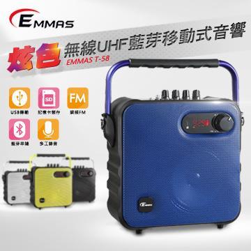(福利品)EMMAS 頭戴式無線麥克風喇叭 藍