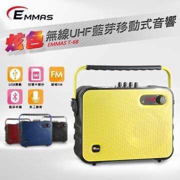(福利品)EMMAS 頭戴式無線麥克風喇叭 黃