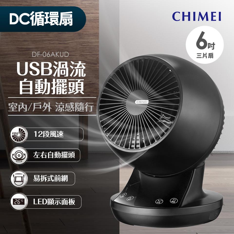 CHIMEI 6吋 USB渦流擺頭循環扇(黑色)(DF-06AKUD)