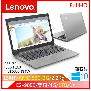 LENOVO IP330 15.6吋筆電(E2-9000/RADEON530/4G/1TB)