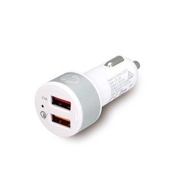HP USB+QC3.0疾速車用充電器-白