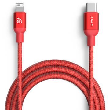 亞果元素ADAM USB-C to Lightning充電傳輸線1.2m-紅