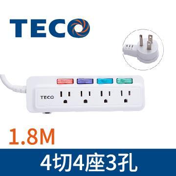 東元TECO 4切4座3孔1.8M延長線