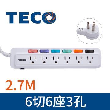 東元TECO 6切6座3孔2.7M延長線 XTFWL166R9