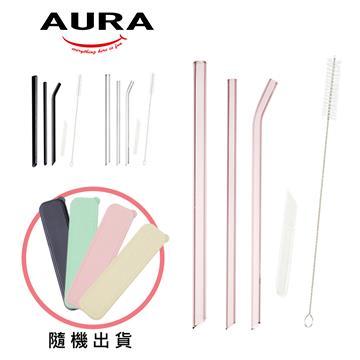 AURA艾樂 晶亮耐熱多彩玻璃吸管6件組
