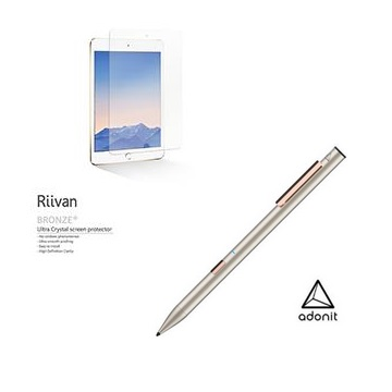Adonit Note 旗艦觸控筆王-金+Riivan iPad Mini 5 亮面保護貼