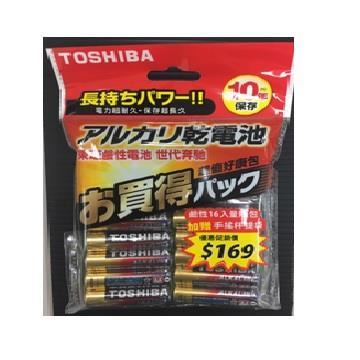 東芝TOSHIBA 鹼性3號電池16入(附手搖杯提袋) LR6G 12+4