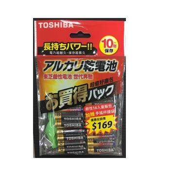 東芝鹼性4號電池16入(附手搖杯提袋)