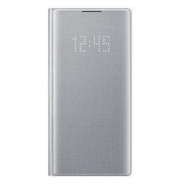 SAMSUNG Note10 原廠LED皮革翻頁式皮套-銀
