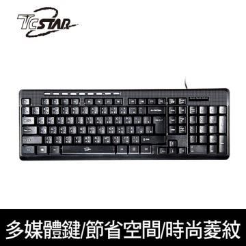 T.C.STAR TCK668 超薄型多媒體菱紋有線鍵盤