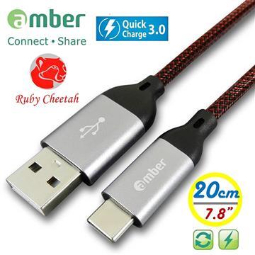 amber Type C 傳輸充電線0.2M-銀 CU2-C01