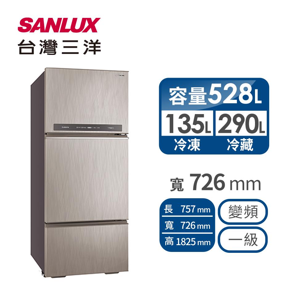 台灣三洋 528公升三門變頻冰箱 SR-C528CV1A