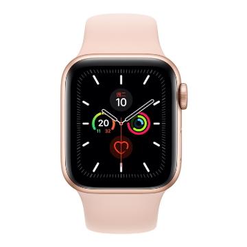 Apple Watch S5 GPS 44/金鋁/粉沙色運動錶帶
