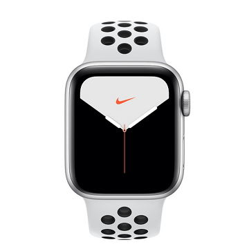 Apple Watch S5 Nike+ GPS 44/銀鋁/白底黑洞運動錶帶