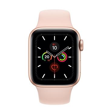 Apple Watch S5 LTE 44/金鋁/粉沙色運動錶帶