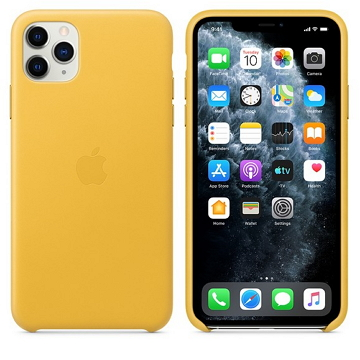Apple iPhone 11 Pro Max 皮革保護殼 梅爾檸檬色