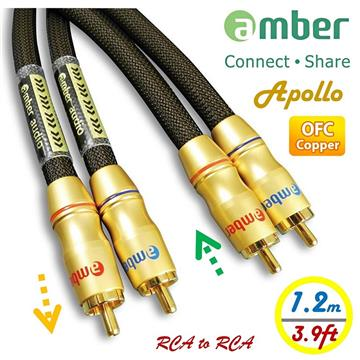 amber OFC無氧銅+Ag銀 1.2M RCA紅白音源線