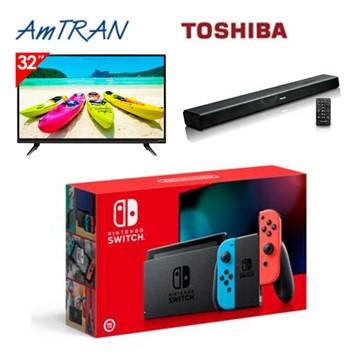 (Switch主機組)AmTRAN 32型HD顯示器+TOSHIBA藍牙家庭劇院(TY-SBX1000)