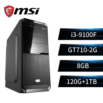 MSI微星平台[蒼龍高手]桌上型電腦(I3-9100F/H310/8GD4/GT710/120GB+1TB)