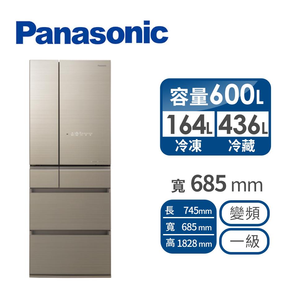 Panasonic 600公升六門變頻玻璃冰箱
