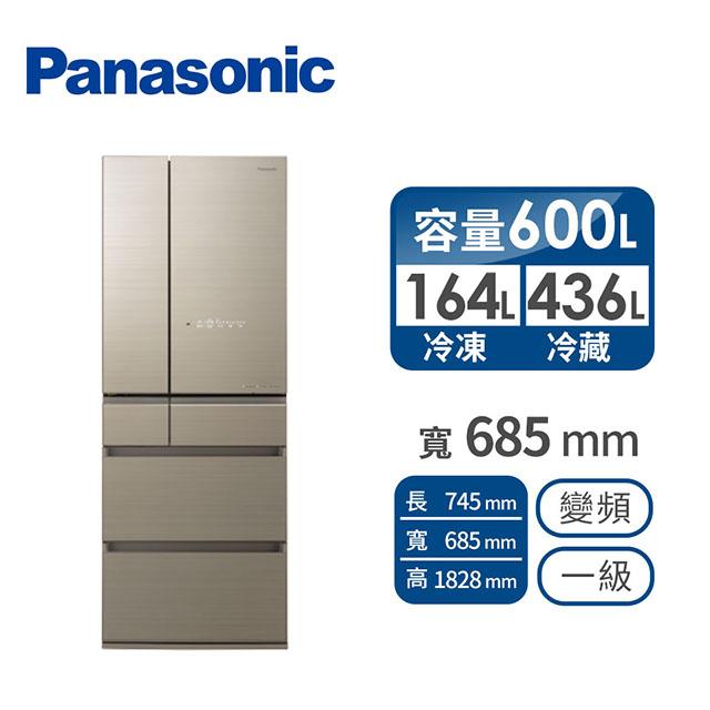 (福利品)Panasonic 600公升六門變頻玻璃冰箱