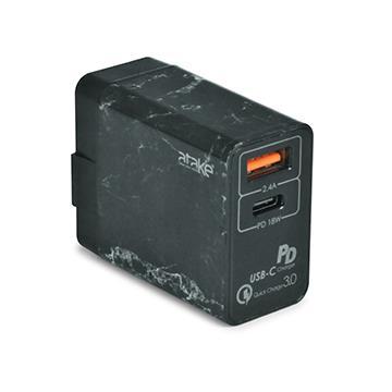 ATake QC3.0雙孔USB快速充電器-黑
