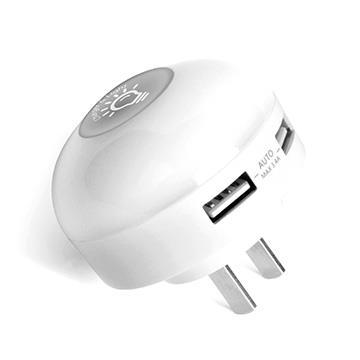 【拆封品】ATake 3.4A雙孔USB夜燈充電器