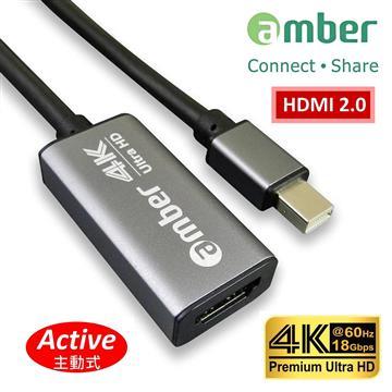 amber mini DP轉HDMI 4K 60P主動式轉接器