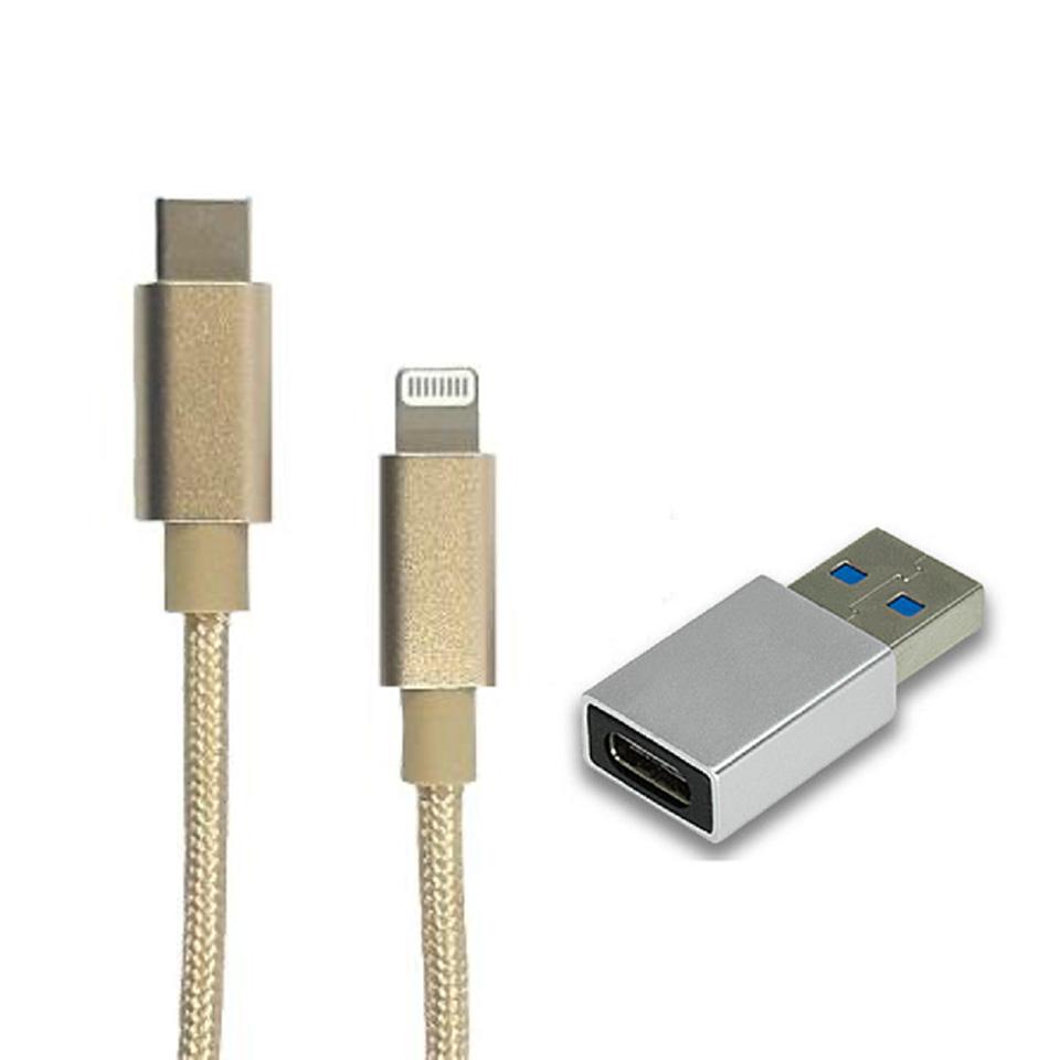 【618特惠組】ZBAND Type C轉USB鋁合金轉接頭-銀 + TRANGJAN USB-C to Lightning快充線1M-金 TYPECTOUSB3.0CONN