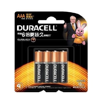 金頂DURACELL 金霸王鹼性電池4號4入 AAA