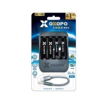 OXOPO快充鋰電池3/4號各兩入+4埠充電座