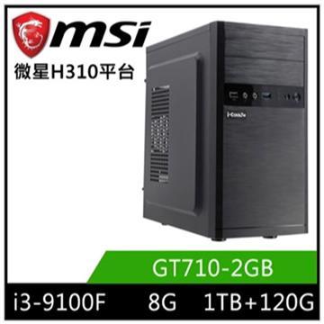 MSI微星平台[蒼龍悍將]桌上型電腦(I3-9100F/H310/8GD4/GT710/120GB+1TB)