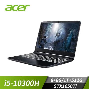【改裝機】宏碁ACER AN515 筆記型電腦 黑(W10/i5-10300H/15F/1650Ti-4G/8G/512SSDP) AN515-55-51GB+8G+1T
