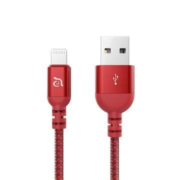 亞果元素ADAM PeAk3 MFi認證8pin編織充電線1.2m-紅
