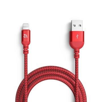 亞果元素ADAM PeAk3 MFi認證8pin編織充電線2m-紅