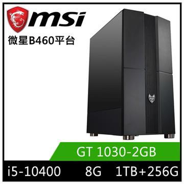 MSI微星平台[闇星武神]桌上型電腦(I5-10400/B460/8GD4/GT1030/256GB+1TB)
