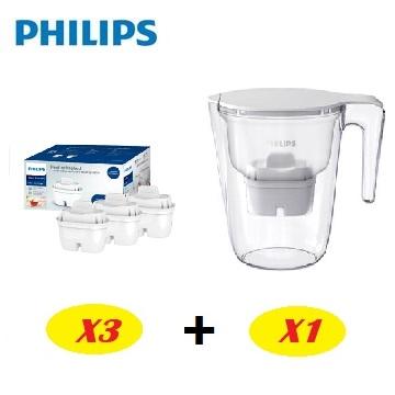 飛利浦Philips 超濾濾水壺-通用版3.4L+通用超濾多重過濾濾芯(3入)3組