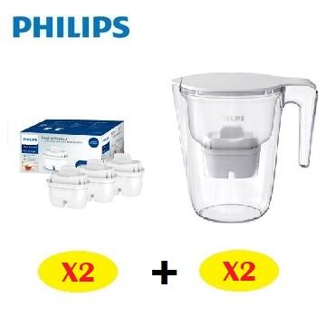 飛利浦Philips 超濾濾水壺-通用版3.4L二組+通用超濾多重過濾濾芯(3入)二組