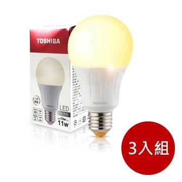 (3入組)東芝TOSHIBA 11W LED燈泡-自然光 35005156