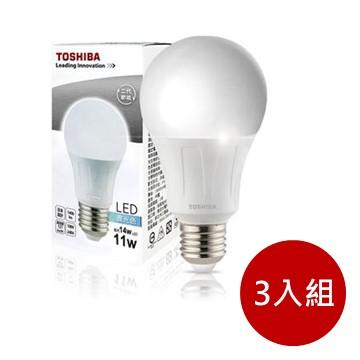 (3入組)東芝TOSHIBA 11W LED燈泡-白光