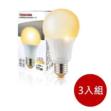 (3入組)東芝TOSHIBA 11W LED燈泡-黃光