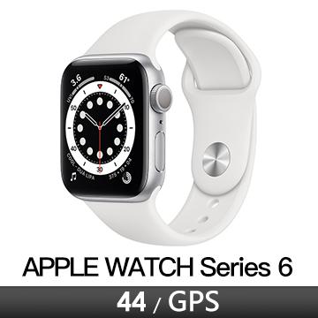 Apple Watch S6 GPS 44/銀鋁/白運動錶帶